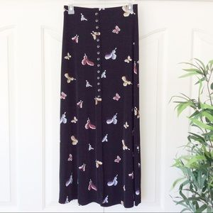 es.se Medium Black Butterflies Maxi Skirt